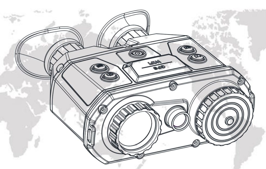 Hikvision Thermal & Optical Bi-Spectrum Binocular (Wärmebildfernglas) - Technische Skizze