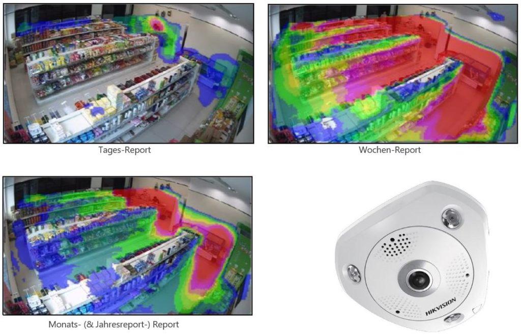 Überwachungskamera mit Intelligenz - Heat Map Report einer Hivision Fisheye