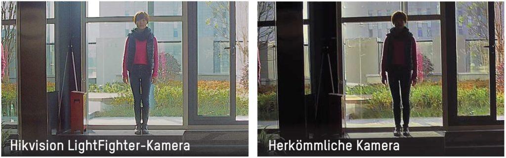 Vergleich LightFighter IP-Kamera mit 140dB WDR zu Kamera ohne WDR